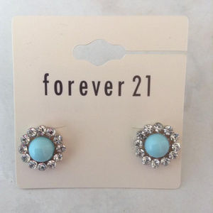 New Light Blue Rhinestone Pearl Earrings